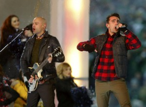 Canadian recording artists Hedley performs during half time of the CFL's 101st Grey Cup championship football game in Regina