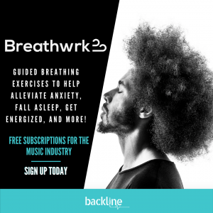 Backline provides free yoga and meditation subscriptions for the music industry and announces new partnership with Breathwrk