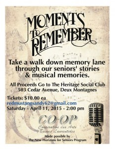 """Cooperative des Arts des Basses Laurentides  Presents – A Fundraiser for the Heritage Social Club """"Moments to Remember"""""""